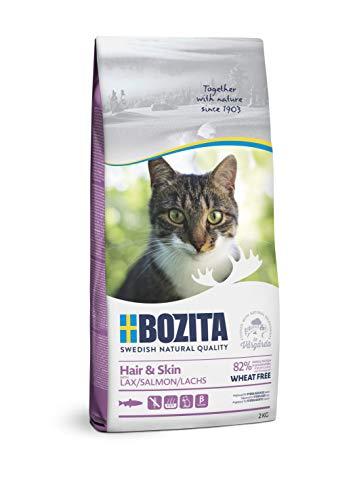 BOZITA Hair & Skin Weizenfrei mit Lachs - Trockenfutter für erwachsene Katzen, dass Haut- und Fellpflege unterstützt, 2 kg