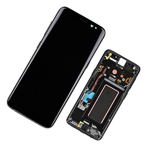 Duotipa Pantalla Super AMOLED compatible con Samsung Galaxy S8 SM-G950F SM-G950FD de 5,8 pulgadas, digitalizador, con marco y herramientas (negro)