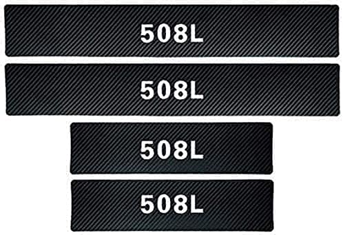 MEIDUN 4pcs Fibra De Carbon Placa De DecoracióN Estribos Desgaste AlféIzar Puerta, Protector Umbral Pasos Pedal Coche AntiarañAzos Accesorios, para Peugeot 508L
