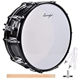 Lexington Snare Drum Set Student Steel Shell 14 X 5.5 Inches with 10 Lugs, Includes Drum Key, Drumsticks and Strap