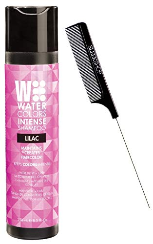 Watercolors INTENSE Color Depositing Sulfate-Free Shampoo, Maintains & Enhances Haircolor (w/ Sleek Steel Pin Rat Tail Comb) Water Colors Hair Dye Maintenance Wash (Intense Lilac - 8.5 oz)