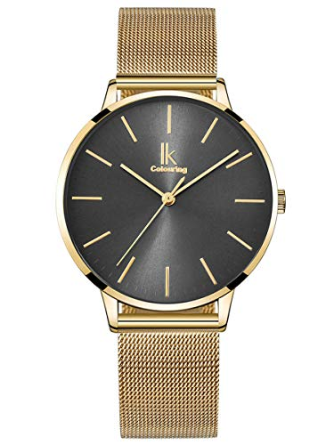 Alienwork Damen-Armbanduhr Quarz Gold mit Metall Mesh Armband Edelstahl grau Ultra-flach dünn