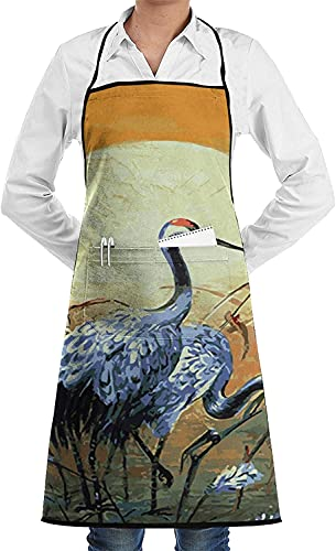 Crane Oil Painting Print Everyday Home Kitchen Restaurant with Pockets Unisex Apron