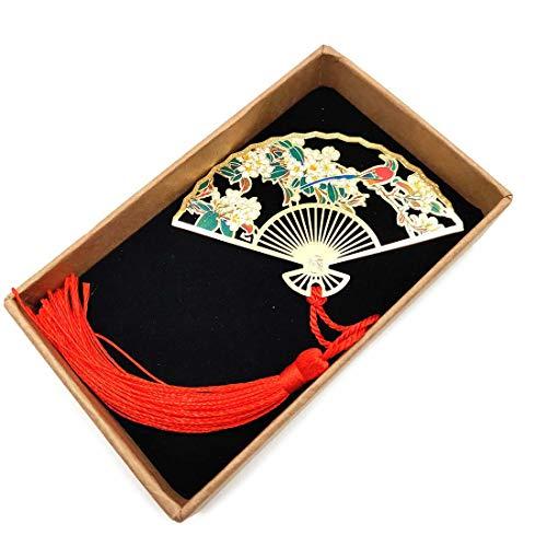 Segnalibro in metallo giapponese con ventaglio a mano per studenti, insegnanti, leggere, donne, studenti, segnalibri, pagine assortite, regalo per libri