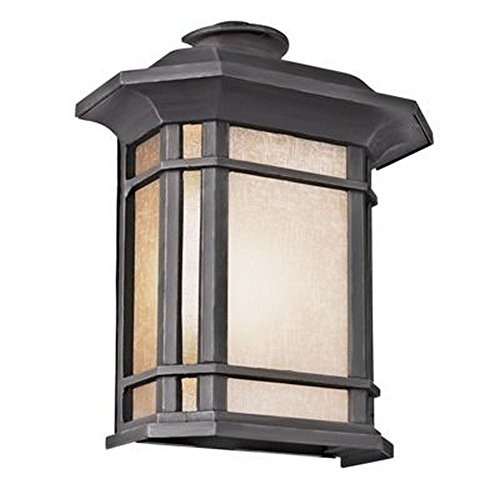 Trans Globe 5822-1 BK San Miguel - Two Light Outdoor Pocket Lantern, Black Finish with Tea Stain Glass
