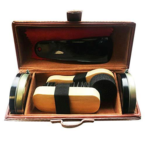 YUET Kit de limpieza de zapatos para cuidado de cuero marrón y negro con cepillo de pulido, estuche de viaje de lujo premium suave cerdas de crin de c