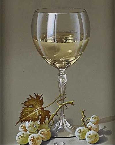 Pintura por Números para Adultos, Copa de vino Kit de Pintura al óleo de Lienzo DIY para Niños con Pinceles, Pigmento Acrílico, Pintura de Dibujo DIY, 40X50 cm Sin Marco