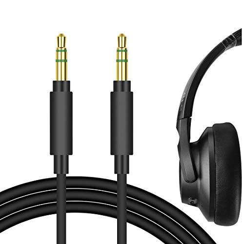 Geekria QuickFit Cable de Audio para Auriculares Anker Soundcore Life Q20, Life Q10, Life 2 Active, Vortex, COWIN E8, E7, E7 Pro, Cable de Repuesto,(Negro, 5.6 FT)