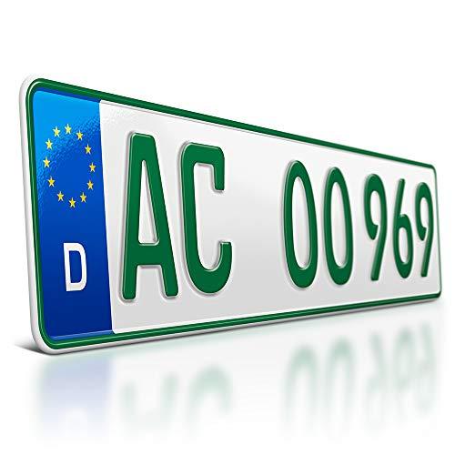 schildEVO 1 grünes Kennzeichen | 520 x 110 mm | Sport & Pferde Anhänger | Traktor | Folgekennzeichen | Bootsanhänger | DIN-Zertifiziert | mit individueller Prägung | Nummernschilder | DHL