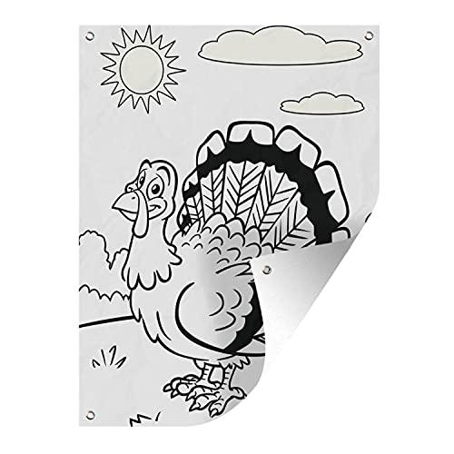 Gartenposter - Ausmalbild Illustration des Truthahns - 60x80 cm
