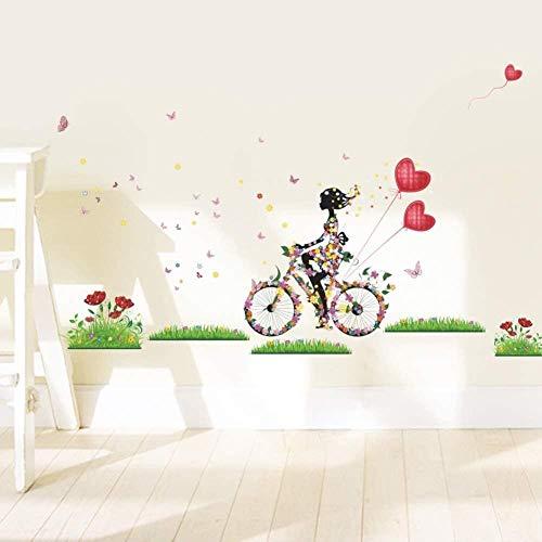 Muursticker,Meisje fiets gras ballon Cartoon Decals DIY moderne kunst accessoires muurschilderingen gebruikt in de kinderkamer Baby slaapkamer