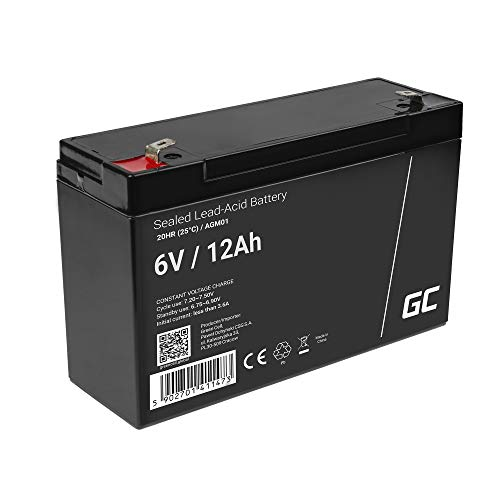 Akku Bleiakku Gel AGM 6V 12Ah Green Cell Akkubatterie für USV Bleigel Akku Sealed Lead-Acid Batterie VRLA Zyklenfest Taschenlampen Notbeleuchtung Alarmanlage Echolot Sicherheitssysteme Spielzeug