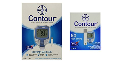 Bayer Ascensia Contour Blood Glucose Monitoring System with 50 Contour Blood Glucose Test Strips...