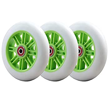 3-Pack Upgrade Flashing Replacement Wheel Set -4.8 Inch- Compatibale with Yvolution Y Fliker Air A1 B1 Swing Wiggle Scooter  Green
