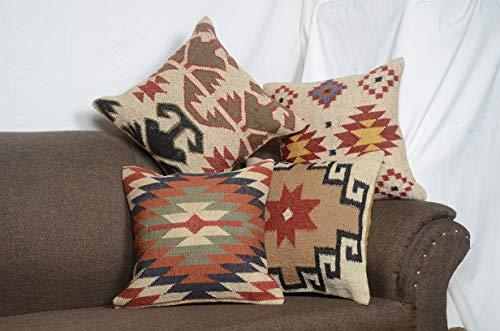 Chouhan Rugs 4 PCS Set of Indian Vintage Jute Kilim Cushion Cover Decorative Rug Pillow Dorm Décor Rug Boho Shams