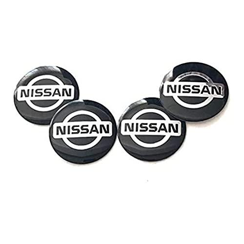 YSTC 4Pcs 55mm Tapas Centrales Aleación Tapacubos para Nissan Qashqai Tiida Almera Altima Teana X-Trail, Juego de Tapacubos Prueba de Polvo, ProteccióN contra El óXido Hub Caps Center Auto Covers