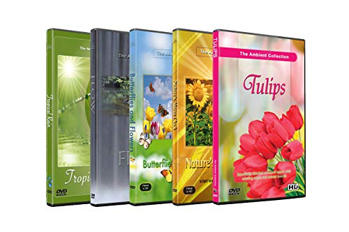 5 Disc Set DVD Combo Pack - Butterfly on Flower, Tulip Garden, Tropical Rain - Relaxation HD Videos with Nature Sounds or Music