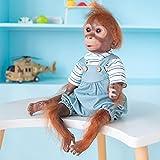 iCradle Muñeca Reborn Mono de Vinilo de Silicona de Monkey 21 Pulgadas Bebé recién Nacido Bebe Doll Looks Reallife Pink Monkey Fur Mejor Regalo Sorpresa (21Inch)