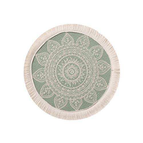 SWECOMZE Juego de 2 salvamanteles redondos de 33 cm, de algodón tejido, con borlas, para comedor, cocina, decoración de mesa, fiesta, boda, etc. (verde)