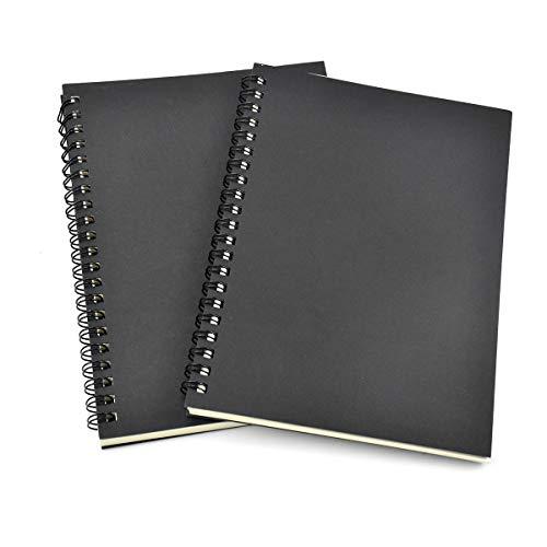 Chstarina 2pcs Bloc de Dibujo A5 Cuadernos de Dibujo 100 Páginas Cuaderno de Bocetos Encuadernado Anillas en Espiral con Papel en Blanco para Escribir Dibujo Artístico Notas de Aula 12 * 18cm