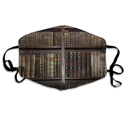 Face Mask Vintage Bookshelf Personalized Cycling Half Face Earloop Mouth Mask For Men