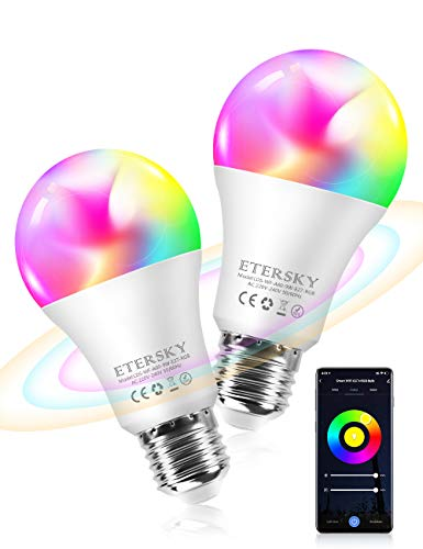 Lampadina Wifi Intelligente, Etersky E27 Smart Lampadine LED Multicolore RGB 9W Compatibile con Alexa e Google home, Lampadina Led Dimmerabile Colorata, App Controllo Remoto, Funzione Timer, 2 Packs