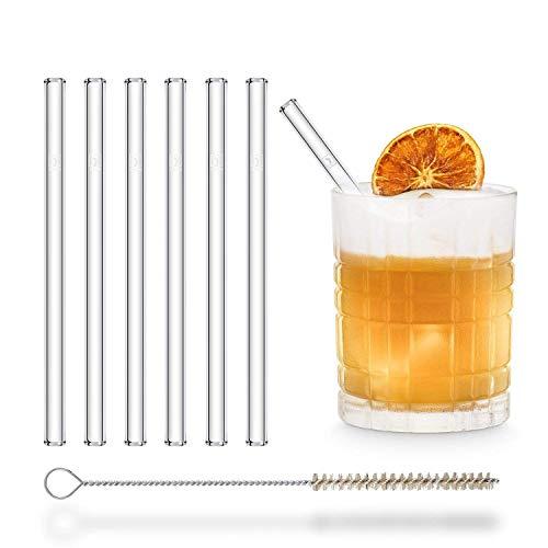 HÅLM Cannuccia - Cannucce in Vetro riutilizzabili - Set di 6 cannucce dritte da 15cm + 1 Spazzola per la Pulizia - Senza BPA - Lavabili in lavastoviglie - Ecosostenibili - per Cocktail e frullati