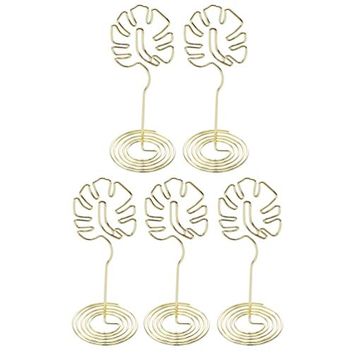 Amosfun 5pcs Photo Card Display Stands Monstera Leaf Shaped Note Memo Card Picks Party Tent Card Display Holder Golden