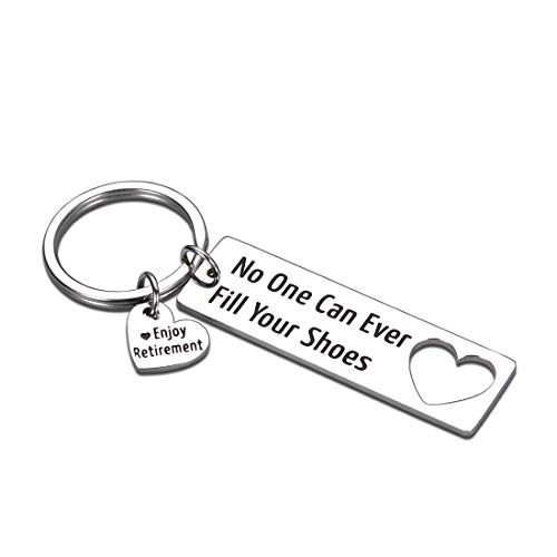 Retirement Gifts Keychain for Coworker Colleague Boss Best Friend Leaving Going Away Farewell Goodbye Jewelry for Dad Teacher Doctor Nurse-No One Can Ever Fill Your Shoes