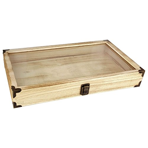 MOOCA Natural Wood Glass Top Jewelry Display Case Accessories Storage Box with Brass Corners and Metal Clasp, Wooden Jewelry Tray for Collectibles, Home Organization, Oak