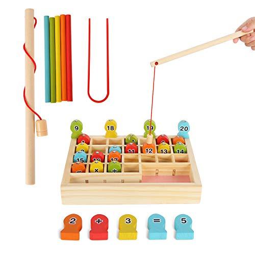 Herefun Holzspielzeug Angelspiel, Holz Digitales Angeln Lernen Spielzeug mit Stangenklemmen, Holzspielzeug Zahlenlernspiel Früherziehung Lernspielzeug Geschenk für Kinder von Zählspielen