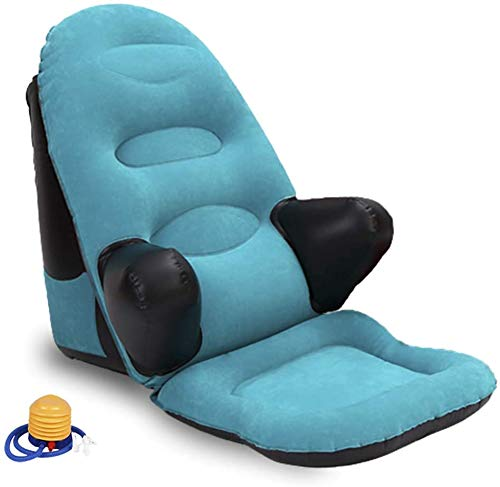 Reading Pillow Floor Chair, Inflatable Gaming Sofa, Couch for Bedrest, Bed Wedge Backrest Cushion Dorm Rocker with Arm and Pocket, Executive Ergonomic Back Support, Reading Game Meditating