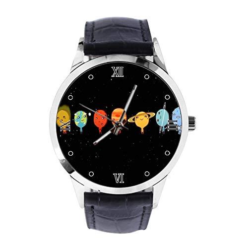 Funny Planet - Reloj de pulsera unisex analógico de cuarzo con correa de cuero para niñas y niños