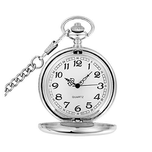 Relojes de bolsillo Moda 37 cm Fob Cadena de Acero Suave Reloj de Bolsillo de Cuarzo Vintage Roman Nmber Dial Colgante Fob Reloj Regalos, plata,