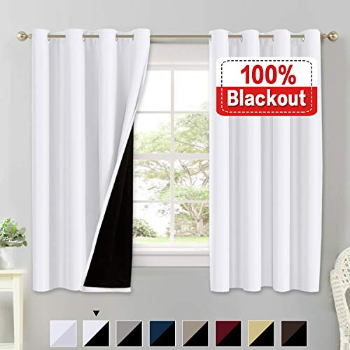 100% Blackout White Curtains for Bedroom Thermal Insulated Energy Saving