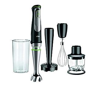 Braun-Minipimer-9-MQ9027X-Stabmixer-1000-W-automatische-Geschwindigkeit-Spritzwasserschutz-Schwarz-und-Silber