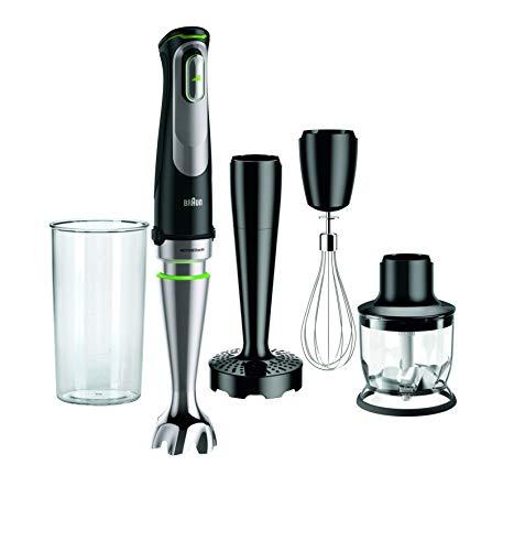 Braun Minipimer 9 MQ9027X Stabmixer, 1000 W, automatische Geschwindigkeit, Spritzwasserschutz, Schwarz und Silber