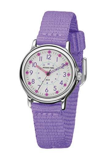 JACQUES FAREL KCF 023 - Reloj de pulsera analógico para niña (correa de tela, muy suave, metal), color morado