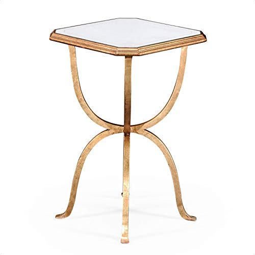 Glass Top Pedestal End Table, Base Color: Glass Genuine Silver-Leaf, No Assembly Required