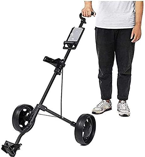 Carrito de Golf Trolley Golf Golf Push Carros Carritos de golf Pull Carrito Ajustable Carrito de golf Carrito 2 ruedas Push Pull Pull Golf Cart Carretilla de aluminio Trolley plegable con freno, con m