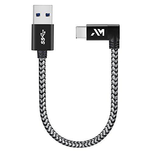 Amazer Tec Typ c Kabel auf USB 3.0 Datenkabel 90 Grad Winkel Stecker 0.25m/0.8ft Nylon USB typ c Datenkabel für Samsung GalaxyS9/ S8 /Note 8, Huawei Mate 9 Pro P10 P9 Plus - Space Grau