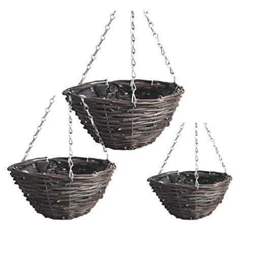 Cabilock 3Pcs Pianta da Appendere a Parete in Plastica Rattan a Parete Vasi Succulenti Porta Fioriera per Balcone Esterno Giardino Nero Taglia L