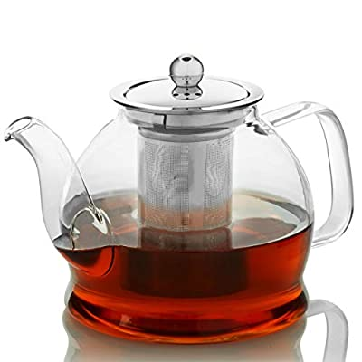 Teapot with Infuser for Loose Tea - 33oz, 4 Cup Tea Infuser, Clear Glass Tea Kettle Pot with Strainer & Warmer - Loose Leaf, Iced Tea Maker & Brewer