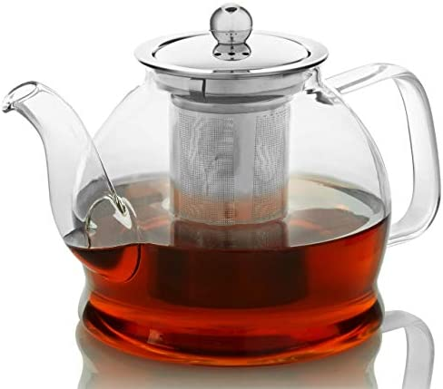 Teapot with Infuser for Loose Tea 33oz 4 Cup Tea Infuser Clear Glass Tea Kettle Pot with Strainer product image