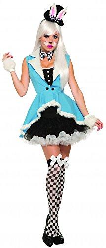 shoperama Weißes Kaninchen Benny Bunny Alice im Wunderland Damen-Kostüm Gr. S/M Kleid Hut Hase Mr. Rabbit White Rabbit