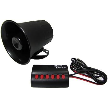 Carparts Online 16125 Fanfare Hupe 6 Verschiedene Sounds Police Car Sirene Alarm Auto