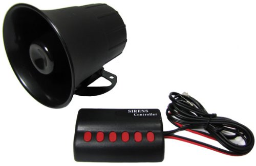 Carparts-Online 16125 Fanfare Hupe 6 Verschiedene Sounds Police Car Sirene Alarm