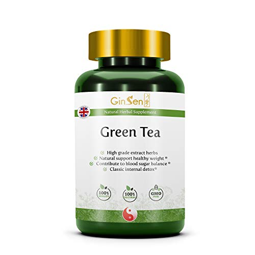 Green Tea Tablets Pure High Grade Extract, Natural Herbal Anti-Oxidant, Vegan & Vegetarian Friendly, Traditional Chinese Medicine by GinSen (60 Tablets)