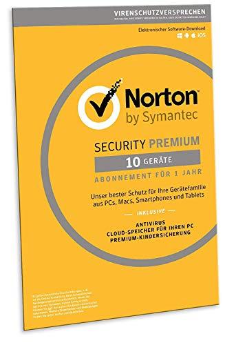 Norton Security Premium 2019 | 10 Geräte | 1 Jahr | PC/Mac/iOS/Android | Download, Aktivierungscode in Frustfreier Verpackung