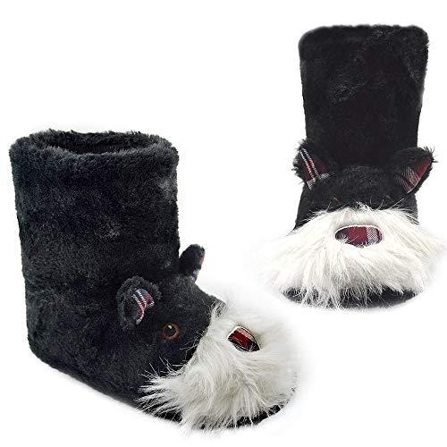 Zapatillas de Mujer con Perro Peluche Super Suave Zapatilla de Invierno Mujeres (40/41 EU, Bota de Scotty)